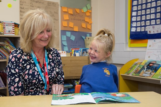Burlington Primary School Blonde Girl and reading helper reading together copy.jpg