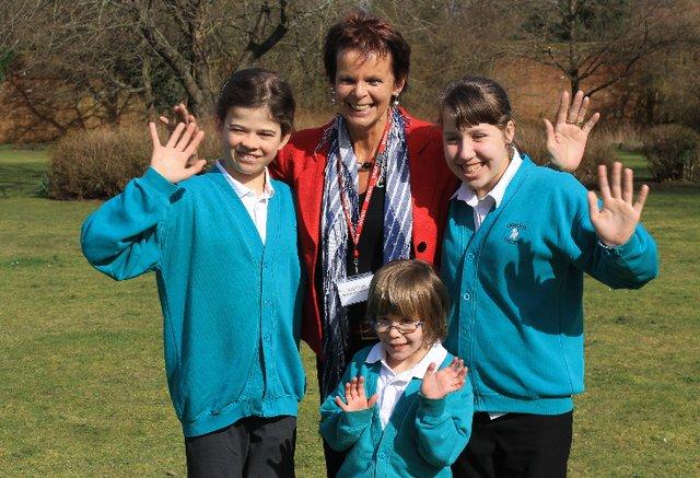Guildford MP Anne Milton with Gosden House pupils