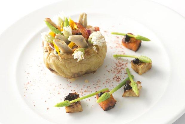 Salt baked kohlrabi with charcoal smoked sweet potato, celeriac, wild asparagus, baby artichoke and wild garlic flowers.jpg