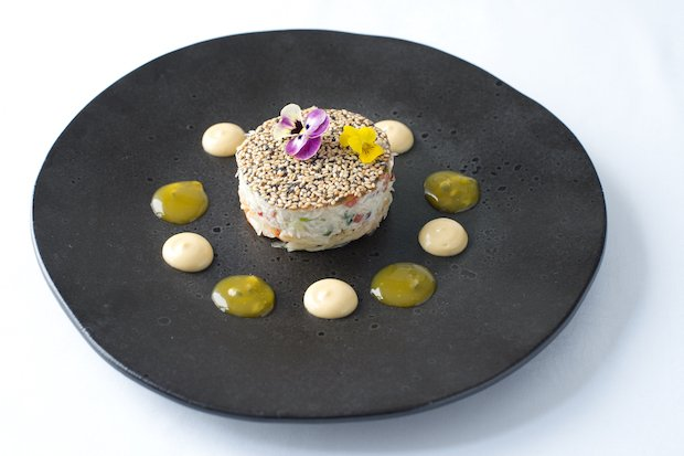 Ceviche of Devon crab with kimchi, passion fruit, sesame tuile & brown crab emulsion.jpg