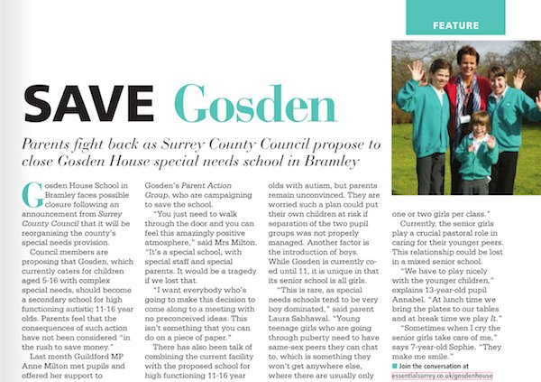 Gosden House article in print