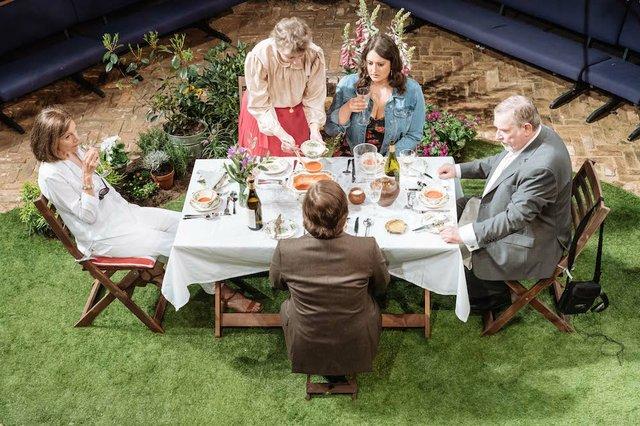 Belinda Lang, Selina Cadell, Jonathan Broadbent, Rebekah Hinds and Paul Bradley in Humble Boy_Orange Tree Theatre_photo by Manuel Harlan.jpg