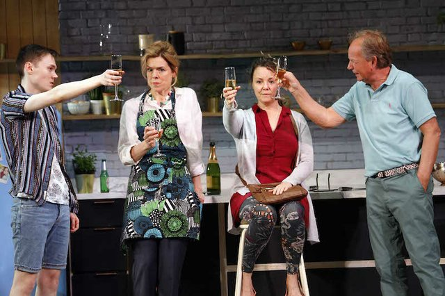 LtoR Jack Archer as Leo, Janie Dee as Caroline Mortimer, Charlie Brooks as Sally & Patrick Ryecart as Mike in MONOGAMY, credit Simon Annand.jpg