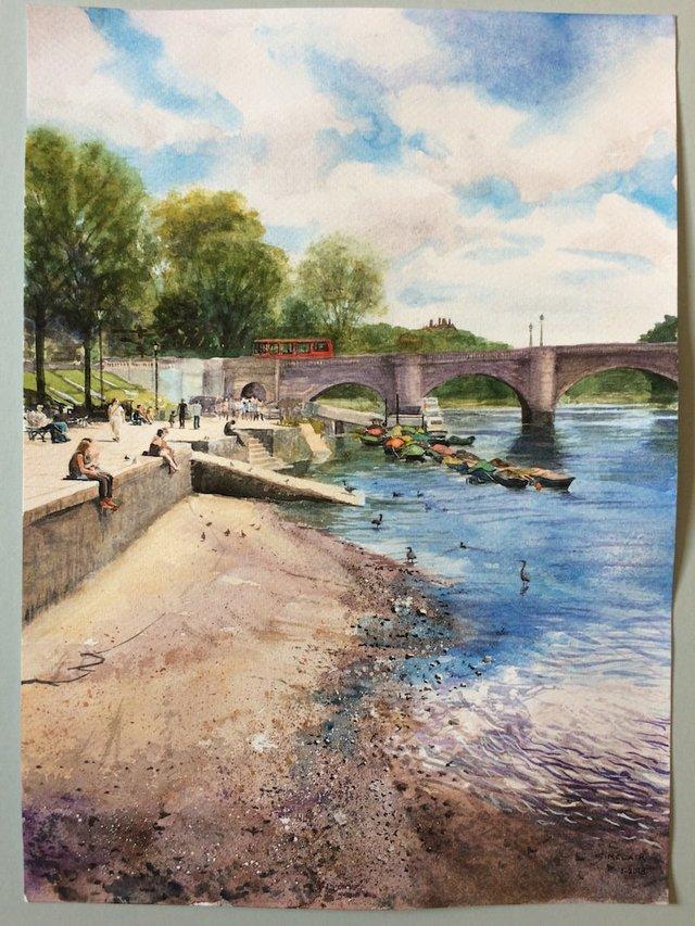Richmond Bridge with Heron (Robin Sinclair)-min.JPG