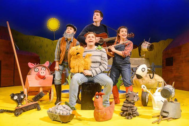 What the Ladybird Heard. Emma Breton (Farmer), Benedict Hastings (Raymond, Lanky Len), Emma Carroll (Lily, Ladybird), Edward Way (Eddie, Hefty Hugh). Credit - Robert Day_lowres.jpg