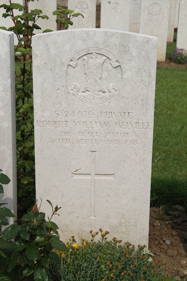 Melville, R W, Guildford, Winchester Diocesan, Grave in Terlincthun British Cemetery, Wimille 4 copy.JPG