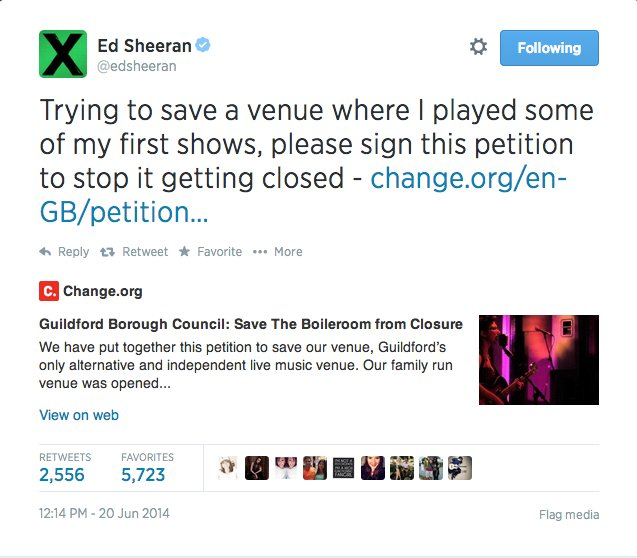 Ed Sheeran encourages fans to sign petition to save The Boileroom