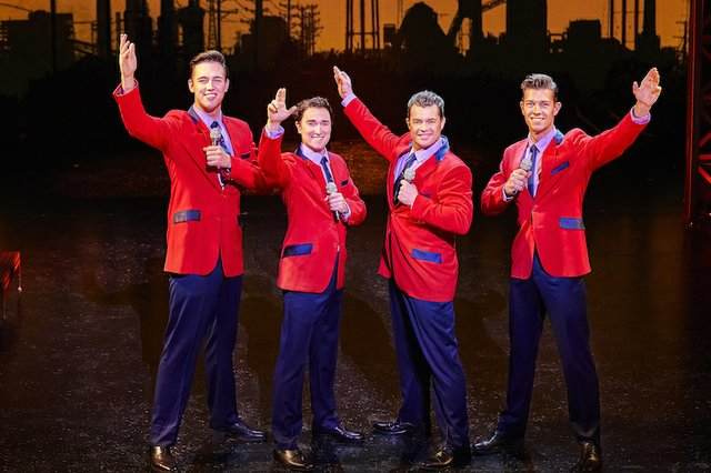 Declan Egan, Dayle Hodge, Simon Bailey & Lewis Griffiths in JERSEY BOYS. Credit Brinkhoff & Mögenburg.jpg