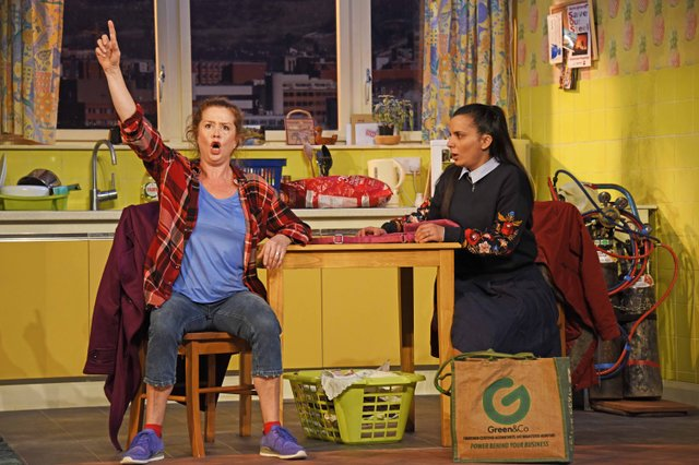 Lisa Howard as Anthea and Suzanne Ahmet as Maggie  - photo by Nobby Clark©nc-Don't Pay Won't Pay-011.jpg