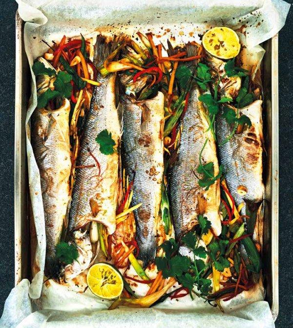 Sea Bass with Ginger & tamari, boiled rice and edamame beans.jpg