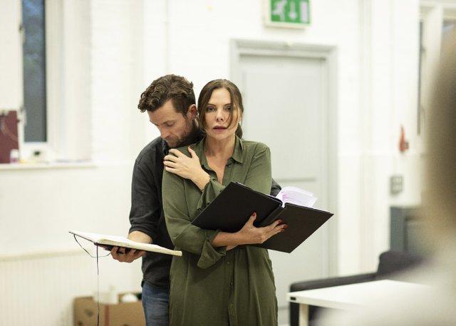 TGOTT Rehearsal 4 - Samantha Womack (Rachel Watson) and Adam Jackson Smith (Tom Watson). Photo by Helen Maybanks.jpg