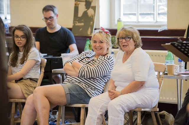 Fern Britton & Pauline Daniels in rehearsals for Calendar Girls The Musical credit Matt Crockett.jpg