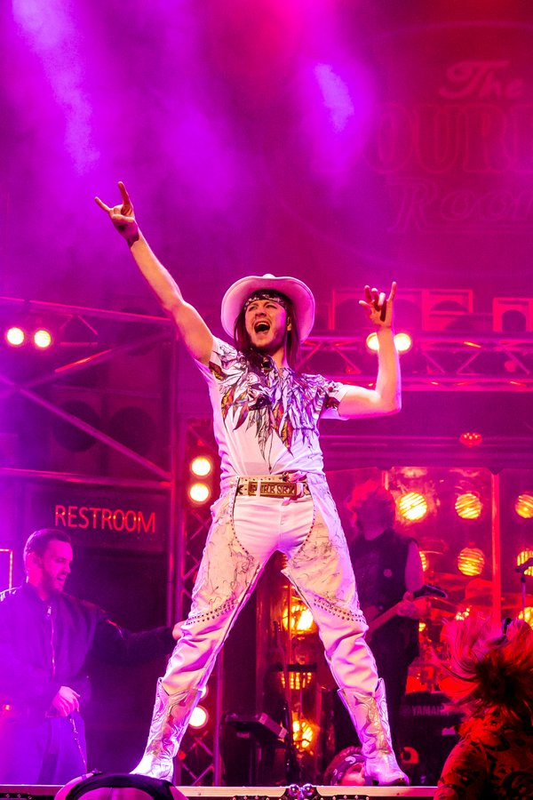 Kevin Clifton as 'Stacee Jaxx' in the UK Tour of Rock of Ages - credit Richard Davenport (8).JPG