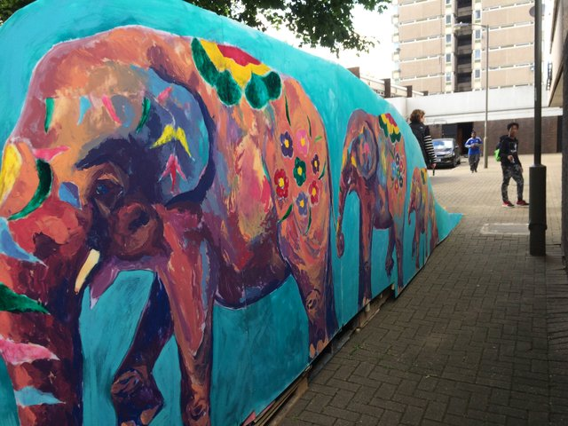 elephant ramp by Jayson Singh made with pallets and waste perspex with mural.jpg