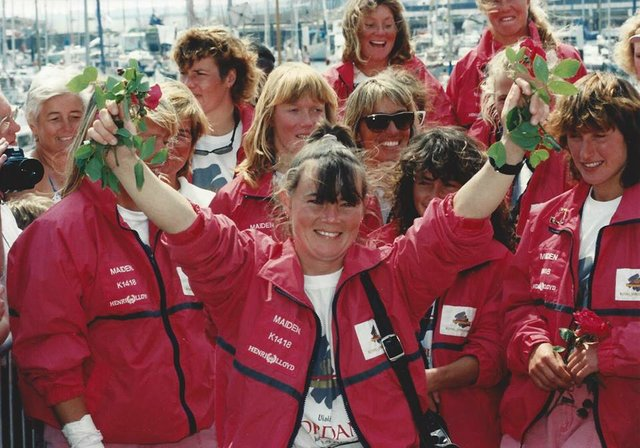 28May90 Tracy Edwards and the crew celebrate after winning the Whitbread.jpg
