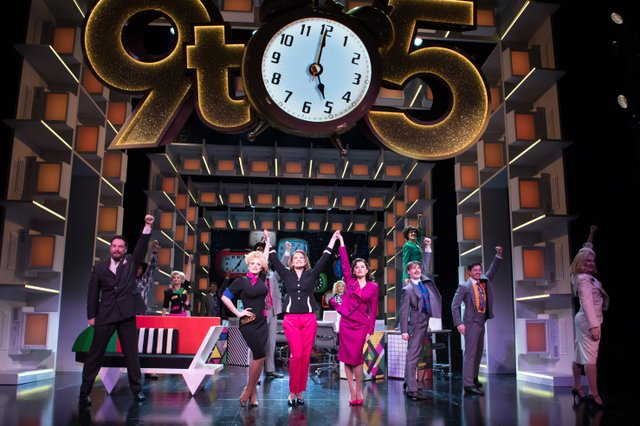 9 TO 5 THE MUSICAL. Natalie McQueen 'Doralee Rhodes', Caroline Sheen 'Violet Newstead', Amber Davies 'Judy Bernly' and company. Photo Craig Sugden.jpg