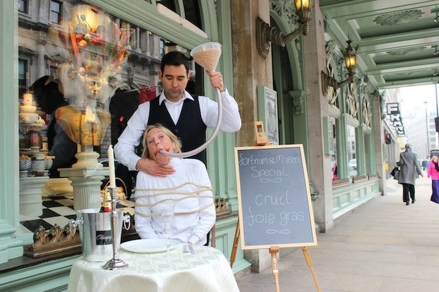 Ingrid Newkirk protest outside Fortnums