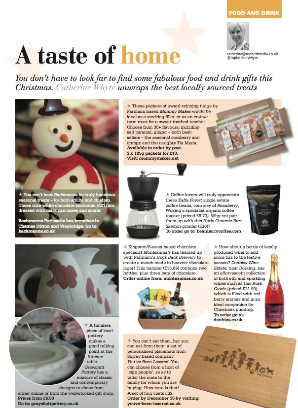 You don't have to look far to find some fabulous food and drink gifts this Christmas. Catherine Whyte unwraps the best locally sourced treats Surrey