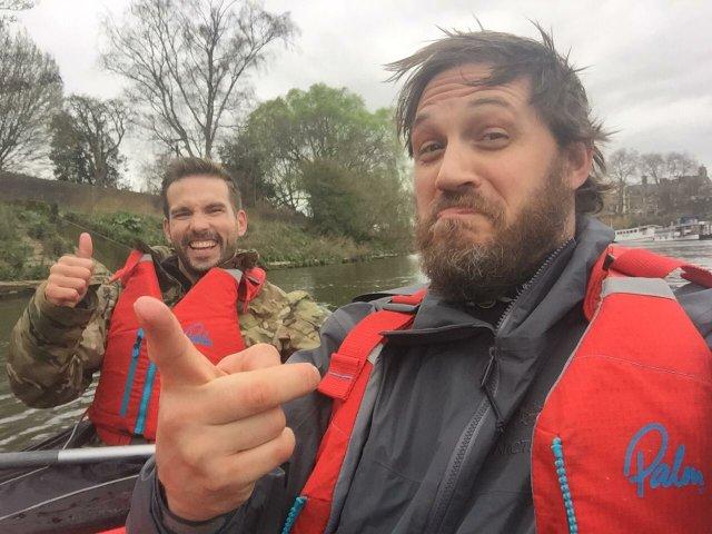 Michael Maisey with Tom Hardy on Richmond river.JPG
