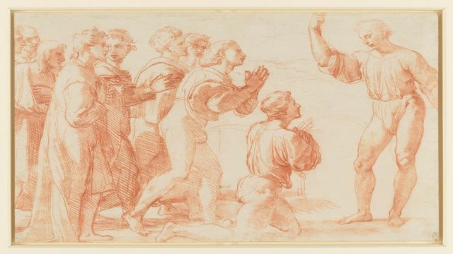 Raphael, (1483-1520), Christ's Charge to Peter, c.1514, offset from a drawing in red chalk over stylus. Royal Collection Trust © Her Majesty Queen Elizabeth II 2020 - SMALL.jpg