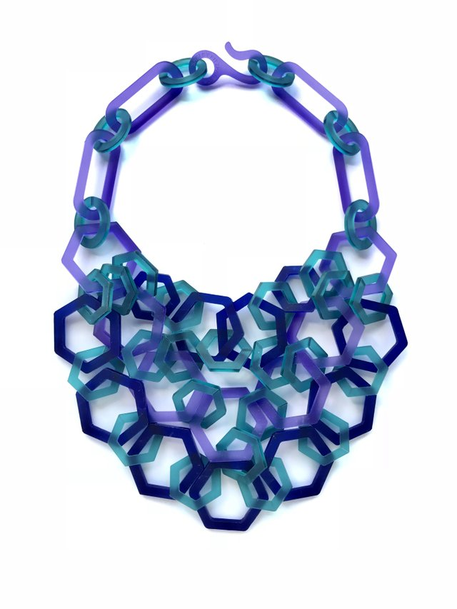 (1) Shelby Fitzpatrick, 3-strand Perspex hexagon necklace blue violet azure, photo Shelby Fitzpatrick.jpg
