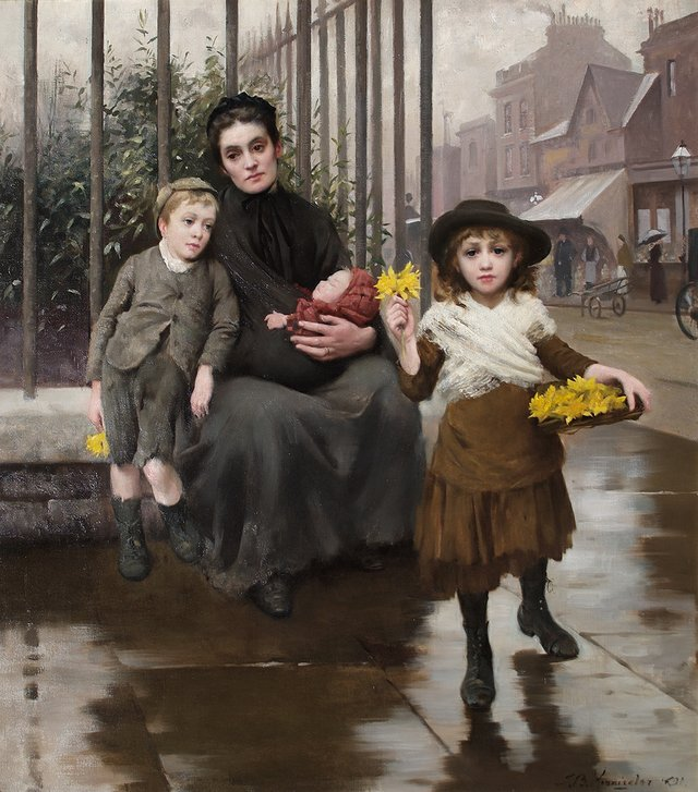 Thomas Kennington The Pinch of Poverty oil on canvas 1891 Coram in the care of the Foundling Museum.jpg
