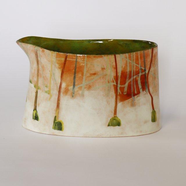 Anna L'Grass Woods hazels, orange' wide jug, h15 x w24 x d11cm.jpg