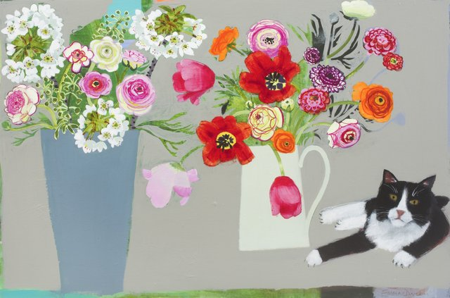 Emma Dunbar Fabulous flowers and a black and white neighbour, 91 x 61cm.jpg