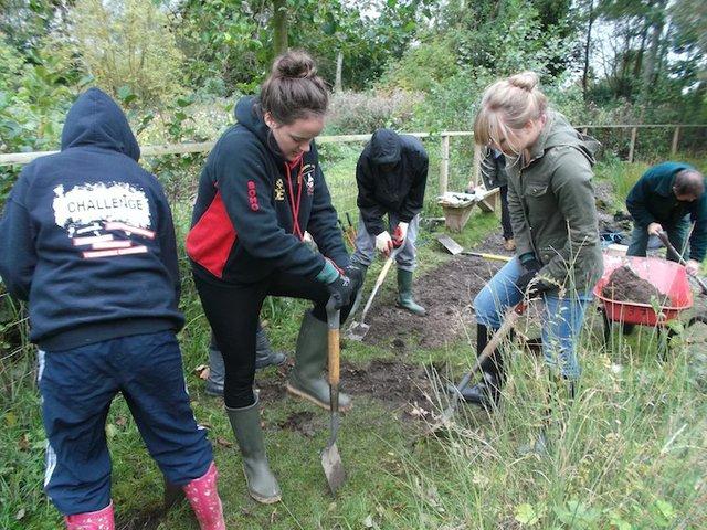 Girls digging