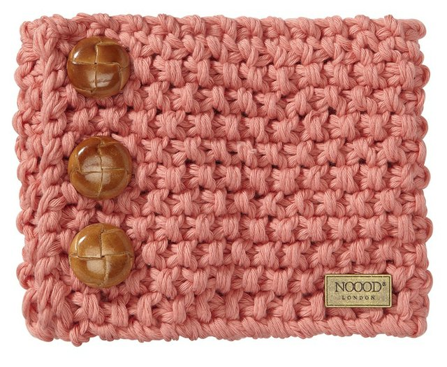 Apricot hand-knitted cotton snood
