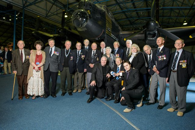 Jim Dooley and the family of the late Robin Gibb join Bomber Command veterans at RAF Hendon