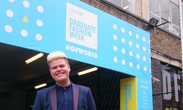 Josh read from Kingston University London outside the entrance to Graduate Fashion Week.jpg