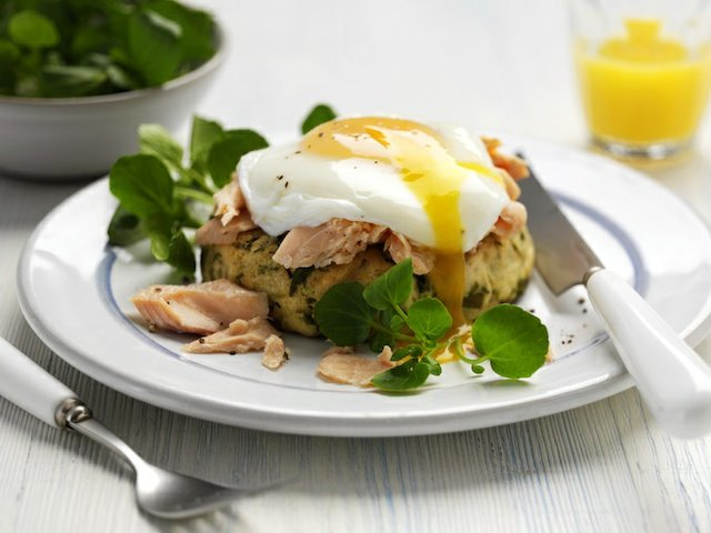 Warm watercress potato cake with poached egg and trout (broken yolk) web.jpg