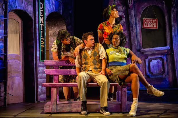 Sasha Latoya (Crystal), Sam Lupton (Seymour) Cassie Clare (Ronnette) and Vanessa Fisher  (Chiffon) in Little Shop of Horrors. Photo Credit Matt Martin.jpg