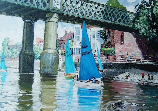 The Russell Gallery - Nick Holly - Sailing club on the river, Putney .jpg