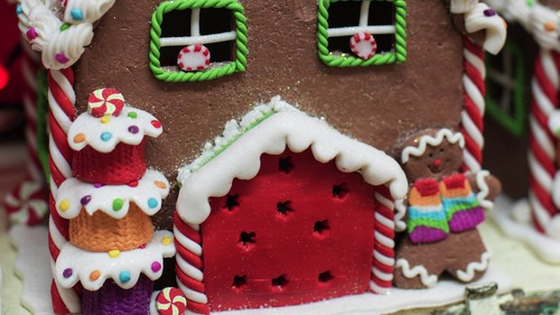 Christmas plant shop 2015 at RHS Wisley - gingerbread house