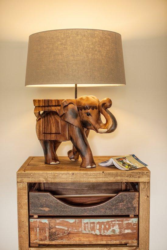 Surin Elephant Lamp carved from single piece of monkey pod wood £179.95. Myakka.jpg
