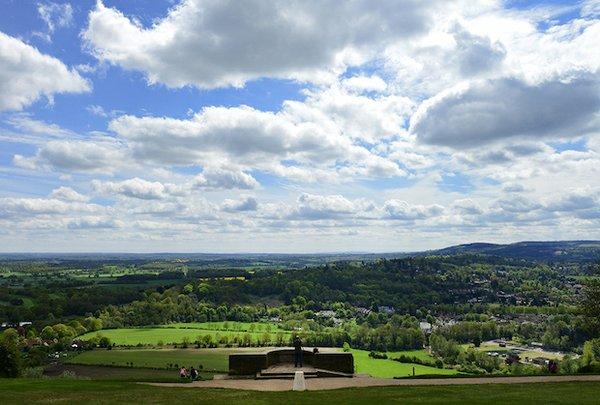 Visitors at Salomons Memorial viewpoint at Box Hill, Surrey.