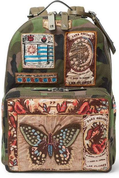 Appliquéd And Embroidered Leather-Trimmed Canvas Backpack