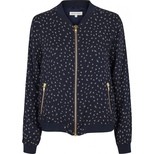 Navy Silk Bomber Jacket